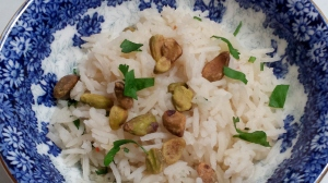 Coconut Cilantro and Pistachio Basmati Rice