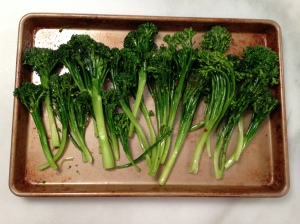 Broccolini before going in the oven
