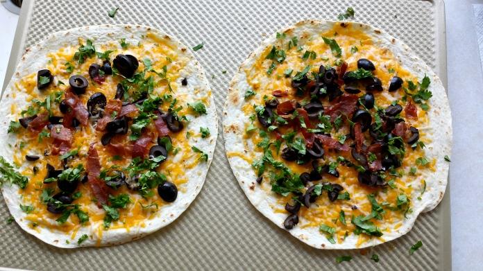 Quesadilla with Prosciutto, Black Olives and Ci