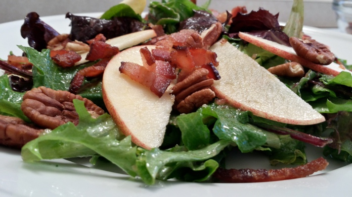 Not Too Virtuous Salad With Caramelized Apple Vinaigrette