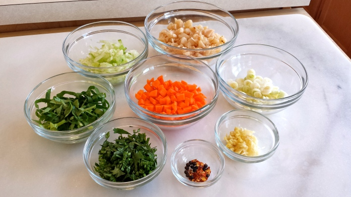 Brown 'Fried' Rice Vegetables, Herbs and Spices