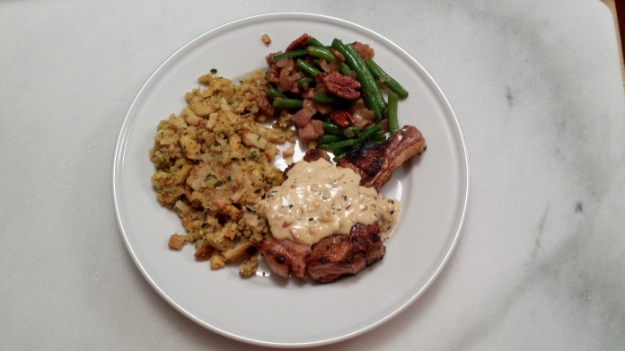 Green Beans with Pork Chop and Stuffing