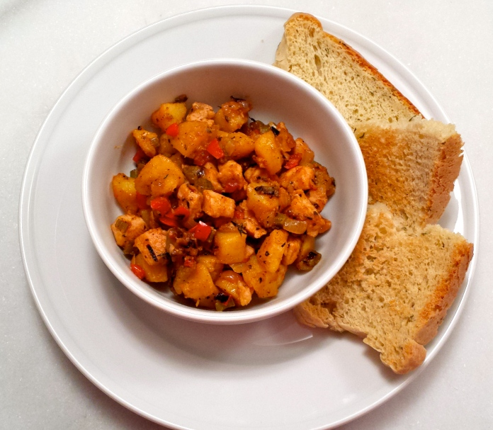 Chicken Hash with homemade Rosemary Bread