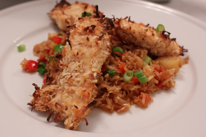 Coconut Chicken Tenders with Pineapple Cashew Fried Rice