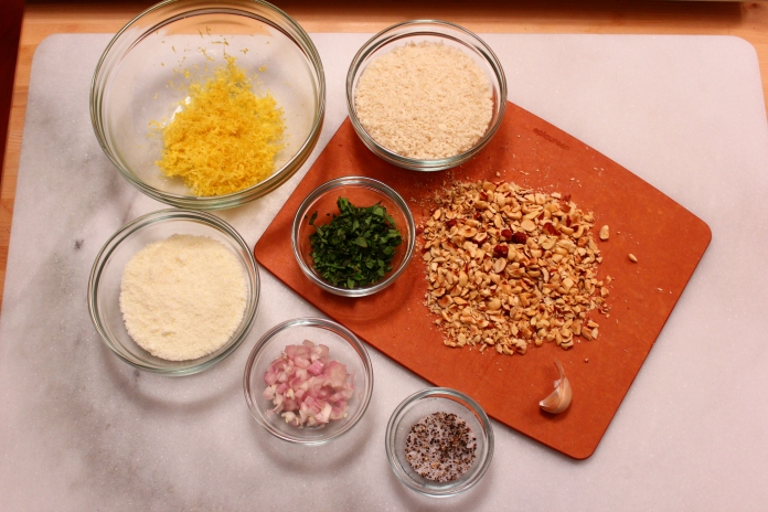 Breading Ingredients for Hazelnut, Lemon and Fresh Herb Crusted Chicken Breasts