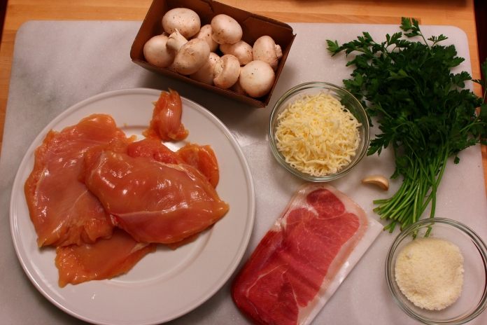 Chicken & Prosciutto Braciole with White Wine Mushroom Sauce Ingredients