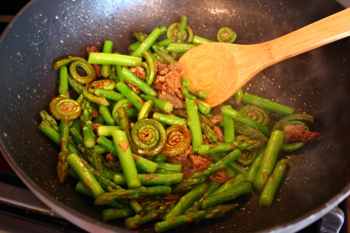 Asparagus, Fiddlehead Fern and Morel Mushrooms with White Wine Butter Sauce