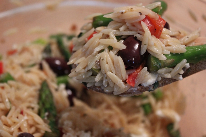Orzo with Asparagus, Kalamata Olives & Feta    www.morewinelesswhines.com