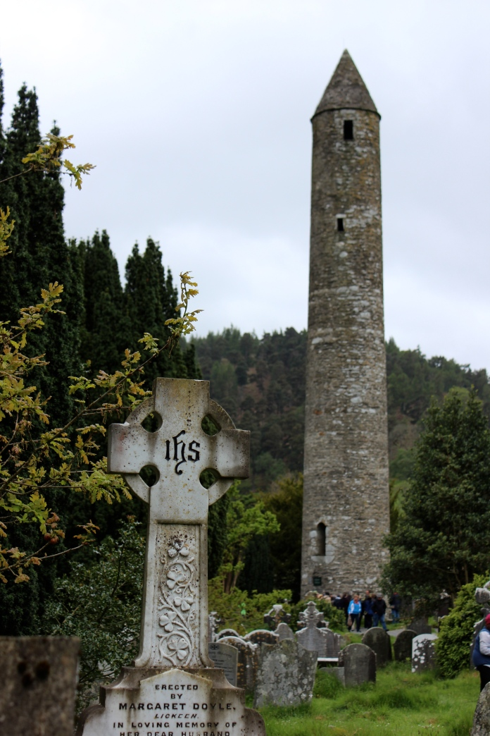 The Round Tower at Glendalough, Co Wicklow, Ireland    www.morewinelesswhines.com