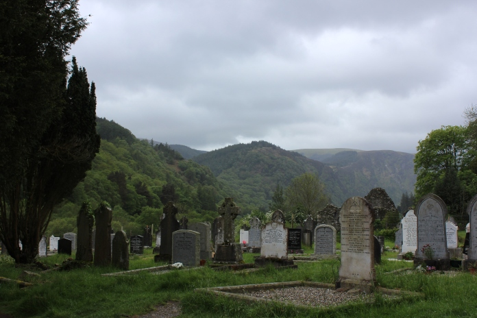 The view overlooking tombstones - Glendalough, County Wicklow, Ireland   www.morewinelesswhines.com