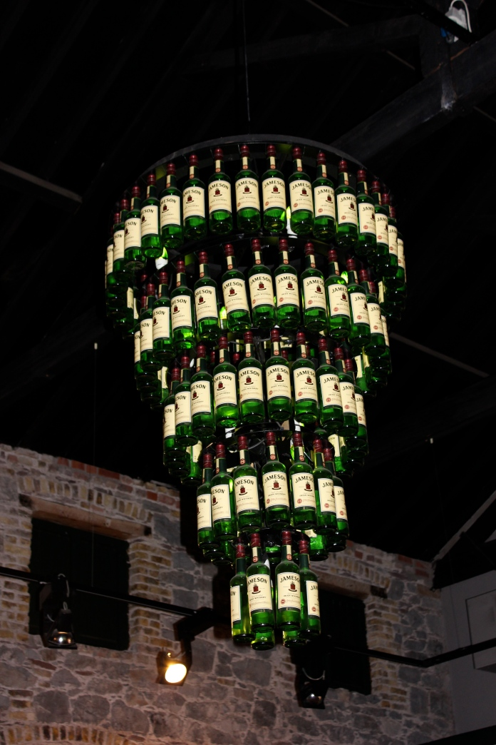 Jameson Whiskey Bottle Chandelier    www.morewinelesswhines.com