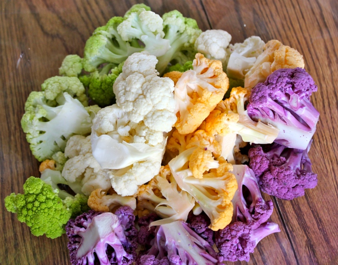 Rainbow Colored Cauliflower   www.morewinelesswhines.com