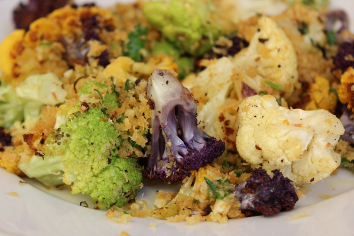 Roasted Cauliflower with Gremolata Bread Crumbs    www.morewinelesswhines.com