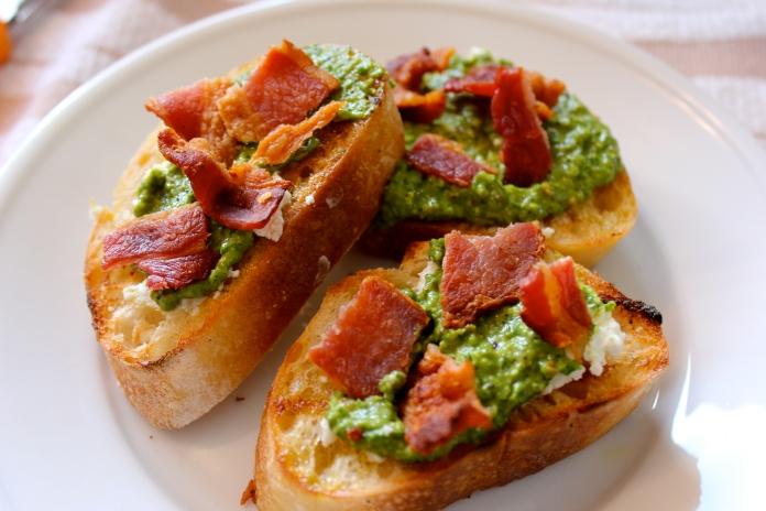 Pesto, Goat Cheese and Grilled Bacon Crostini www.morewineelesswhines ...