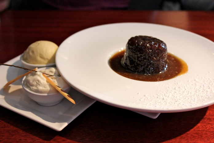 Sticky Toffee Pudding with Ice Cream from Vaughan's     www.morewinelesswhines.com