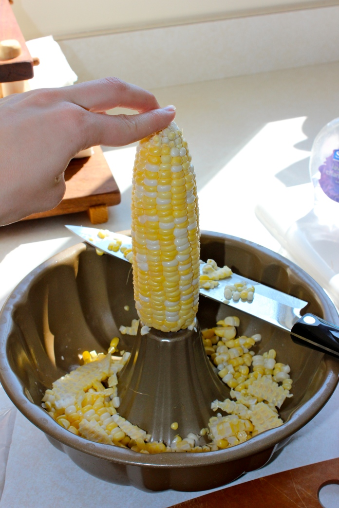 How to Cut Corn Kernels off the Cob without losing a finger www.morewinelesswhines.com