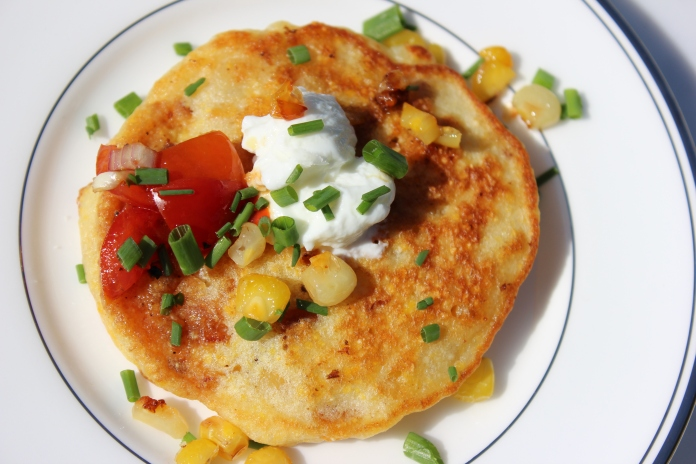 Skillet Corn Griddle Cakes with Bruschetta    www.morewinelesswhines.com