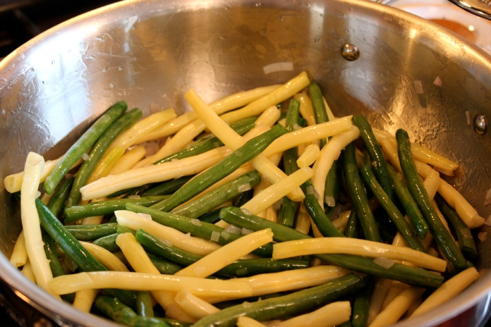 Sautéing green and yellow wax beans with Shallots   www.morewinelesswhines.com