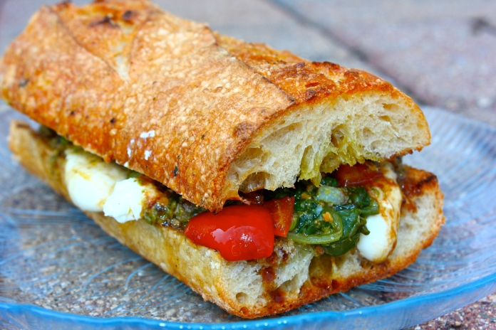 Summer Grilled Cheese with Mozzarella, Feta, Pesto & Bruschetta www.morewinelesswhines.com