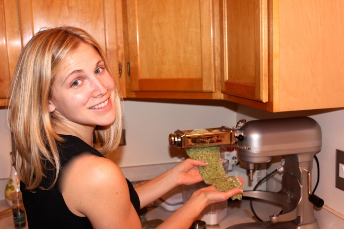 Making Homemade Spinach Lasagna Noodles www.morewinelesswhines.com