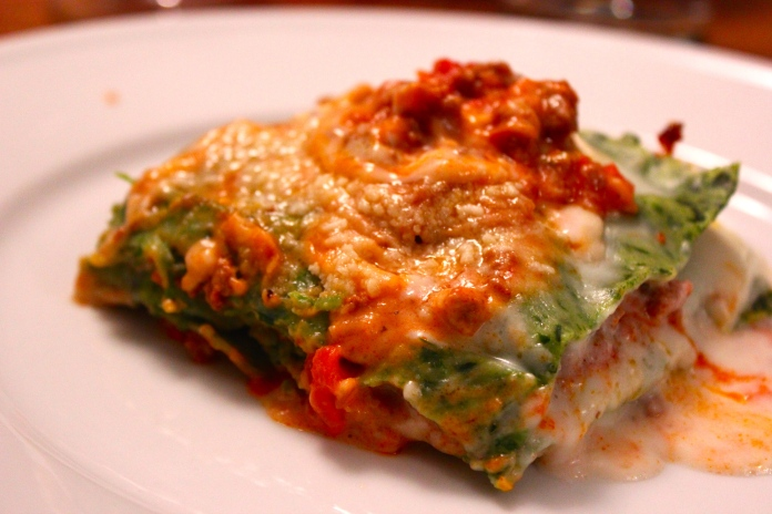 Baked Green Lasagna with Meat Sauce, Bolognese Style       www.morewinelesswhines.com