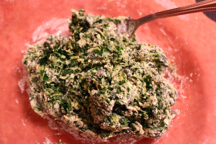 Forming eggs, spinach & Flour into a shaggy ball    www.morewinelesswhines.com