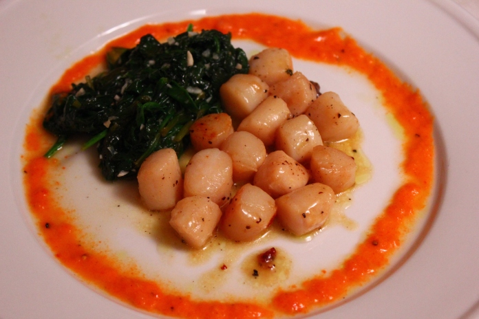 Scallops with Herbed Brown Butter, Sautéed Spinach & Roasted Red Pepper Sauce www.morewinelesswhines.com