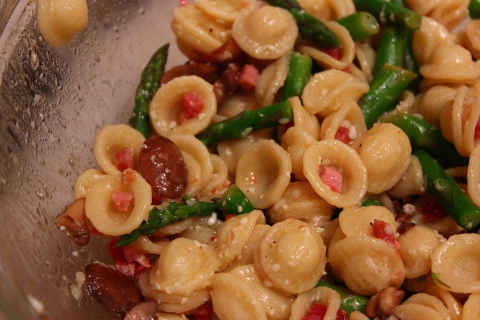 Orecchiette with Asparagus, Prosciutto and Lemon      www.morewinelesswhines.com