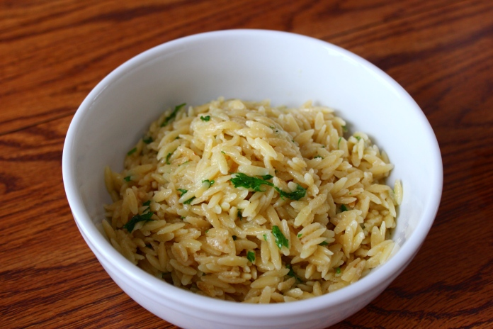 Orzo with Lemon Garlic Butter      www.morewinelesswhines.com