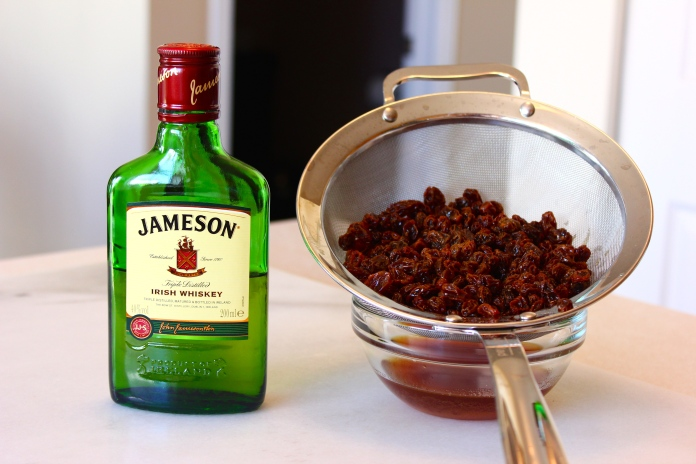 Soaking raisins in Whiskey for Irish Soda Bread    www.morewinelesswhines.com